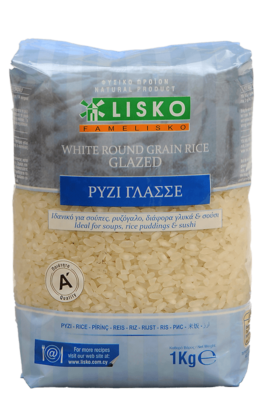 White round grain rice glazed