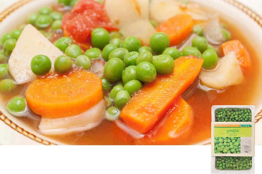Μπιζέλι με πατάτες, αγκυνάρες και καρότα